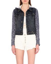 Free People | Blue Contrast Denim Jacket | Lyst