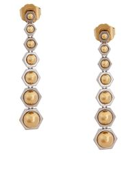 Rachel Zoe - Metallic Two Toned Linear Drop Earrings - Lyst