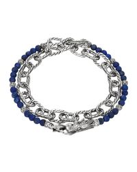 John Hardy - Blue Lapis Lazuli Beads & Chain Wrap Bracelet for Men - Lyst