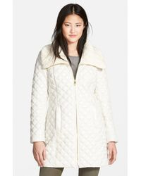 Via Spiga - White Knit Collar Quilted Front Zip Coat - Lyst