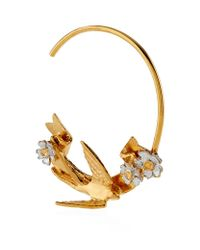 Alex Monroe - Metallic Swooping Swallow Hoop Earrings - Lyst