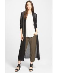 Eileen Fisher | Black Wool Mesh Long Cardigan | Lyst