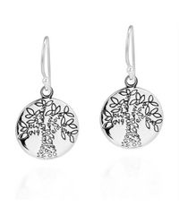 Aeravida | Metallic Flourishing Love Tree Of Life Sterling Silver Dangle Earrings | Lyst