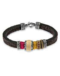 Platadepalo | Multicolor Silk Zircon And Leather Bracelet | Lyst
