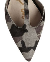 Sam Edelman - Gray Smithfield Camouflage-Print Calf Hair T-Bar Pumps - Lyst