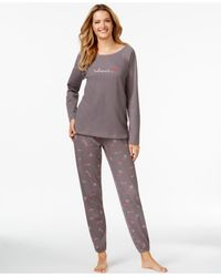 Hue | Gray Thermal Top And Pajama Pants Set | Lyst