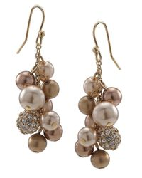 Carolee - White Faux Pearl Cluster Earrings - Lyst