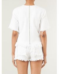 T By Alexander Wang - White Cropped Burlap Top - Lyst