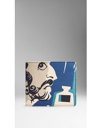 Burberry - Blue The Writer Print Leather Folding Wallet for Men - Lyst
