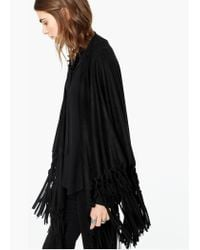 Mango - Black Fringed Cape - Lyst