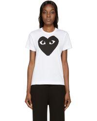 Play Comme des Garçons - White Heart Print T_shirt - Lyst