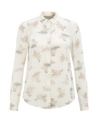 Hobbs | Natural Feather Print Blouse | Lyst