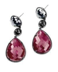 David Yurman | Metallic Ruby Moonlight Tripledrop Earrings with Ruby Hematine | Lyst