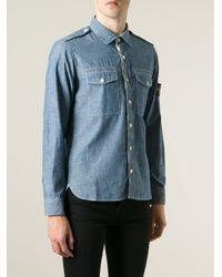 Stone Island - Blue Logo Patch Denim Shirt for Men - Lyst