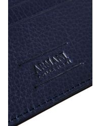 Armani - Blue Card Holder In Tumbled Leather for Men - Lyst