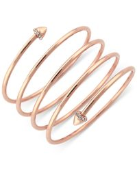 BCBGeneration | Pink Rose Gold-tone Skinny Wire Wrapped Bracelet | Lyst