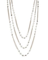Lord & Taylor | Metallic Three Row Charm Necklace | Lyst