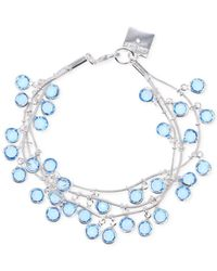 Anne Klein | Blue Silver-Tone Aquamarine Stone Shaky Three-Row Bracelet | Lyst