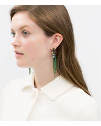 Zara | Green Colorful Chain And Stone Earrings | Lyst