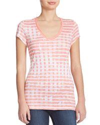 Calvin Klein Jeans | Pink Printed Scoop Neck Tee | Lyst