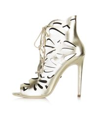 TOPSHOP | Metallic Ravish Laser-cut Sandals | Lyst