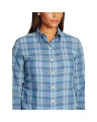 Ralph Lauren   Blue Striped Cotton Shirt   Lyst
