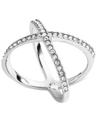 Michael Kors - Metallic Silver-Tone Clear Crystal Midi X Ring - Lyst