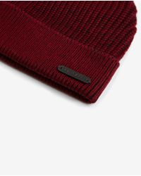 Ted Baker - Red Half Cardigan Stitch Beanie for Men - Lyst