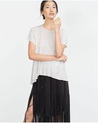 Zara | Gray Basic Street T-shirt | Lyst