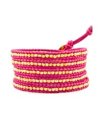 Chan Luu | Gold Wrap Bracelet On Pink Leather | Lyst