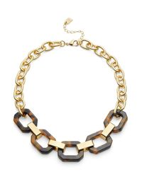 Lauren by Ralph Lauren | Brown Faux Tortoiseshell Link Necklace | Lyst