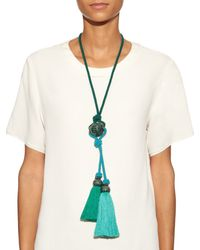 Lanvin - Green Bi-colour Tassel Rope Necklace - Lyst