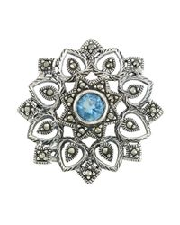 Lord & Taylor | Blue Marcasite And Sterling Silver Medallion Brooch | Lyst