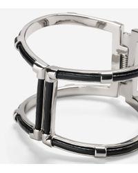 Cole Haan - Metallic T Bar Leather Inlay Hinge Bangle - Lyst