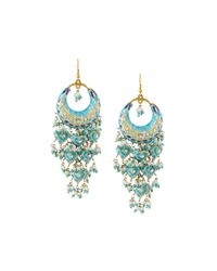Chamak by Priya Kakkar | Blue Half-moon Chandelier Earrings | Lyst