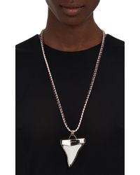 Givenchy - White Leather Bolotie Necklace with Sharks Tooth Pendant - Lyst