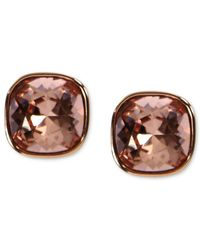 Givenchy | Pink Rose Gold-tone Vintage Rose Swarovski Element Square Button Earrings (2/5 Ct. T.w.) | Lyst