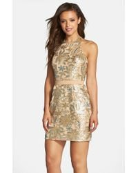 Dress the Population - Metallic 'scarlett' Sequin Chiffon Halter Dress - Lyst
