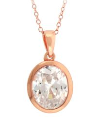 Lord & Taylor | Pink Rose Gold Over Sterling Silver And Cubic Zirconia Pendant Necklace | Lyst