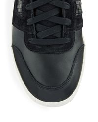 DIESEL Black Leather Amnesia Resolution Sneakers for men