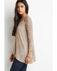 Forever 21 | Brown Lace-paneled Slub Knit Top | Lyst