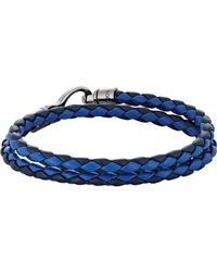 Tod's - Blue Braided Leather Double-wrap Bracelet for Men - Lyst