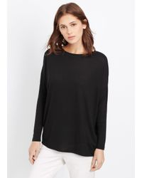 VINCE | Black Mixed Media Top With Rib Trim | Lyst