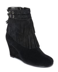 Aerosoles | Black Plumming Bird Wedge Ankle Boots | Lyst