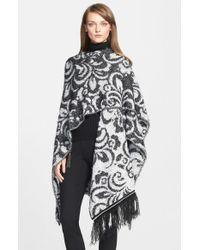 St. John - Black Paisley Jacquard Knit Wrap - Lyst