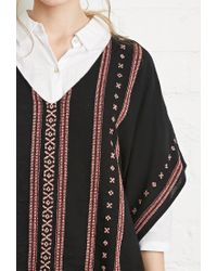 Forever 21 - Black Embroidered Cotton Poncho Top - Lyst