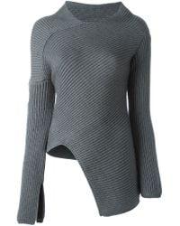 JOSEPH - Gray Asymmetric Sweater - Lyst
