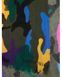 Valentino - Blue Silk-cashmere Camouflage Scarf for Men - Lyst
