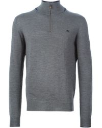 Etro - Gray Turtle Neck Zipped Sweater for Men - Lyst