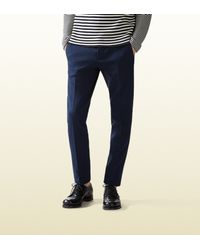 Gucci - Blue Cotton Tricotine Jersey Sharp Pant for Men - Lyst
